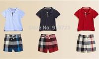 2014 new summer Autumn winter children clothing baby boys clothing set t-shirt pants plaid boys jeans pants trousers
