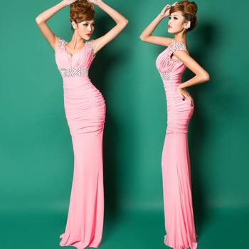 2014 Красный/Розовый/Синий stretchy beaded Homecoming Party Prom Gowns Ball Formal ...