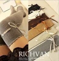 Women Over Knee Long Bowknot Thigh High Plain Ribbon Overknee Boot Cover Socks[240511]