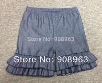 Wholesale - Hot ! Baby girls Denim Ruffled pants Girls ruffled light denim Capris pants Free shipping to US