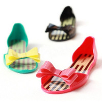 2014 New Arrival Women Fashion bow flat heel open toe candy color stripe jelly shoes crystal sandals slippers Sandals