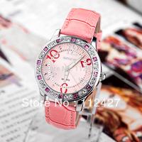 Skone brand watches for Women Fashion watches Genuine leather watch Woman diamond wristwatches 2014 new female watch-TL003