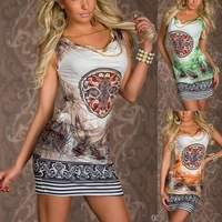 2014 hot sale fashion women summer vintage flower print sleeveless sexy party club casual mini dress vestidos femininos