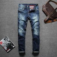 [RSW] 2015 New Fashion DSQ high quality brand men jeans, Nostalgic retro beggar hole 100% cotton slim straight jeans pants