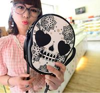 2014 Summer Women  brand New PUNK handbag shoulder bag clutch!Women's Skull Fashion PUNK cluch bags!womens SKULL day clutches!