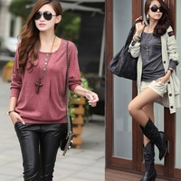 2014 New Style Batwing Sleeve Shirt Women's Loose Pullover Shirt Fashion Cotton Blouse button 19889