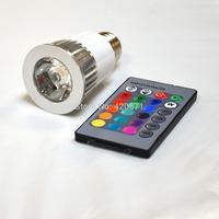 Free shipping ,New arrival 5W E27 high quality RGB LED spotlight  with 16key IR remote control