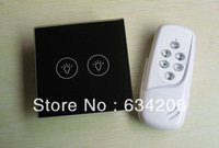 EU/UK Standard Humanization Design 2 Gang Touch Wall Switch with RF Remote Control, 433Mhz Frequency, Crystal Glass Panel Design