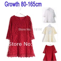 Big girls&Mommys full lace dress baby girl half sleeve princess dresses cute clothing high quality for children sweat Girl