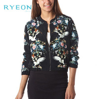 2014 New Spring Fashion Free Shipping Women Peace Bird Flower Print Long Sleeve Stand Collar Zipper Lady Jacket,S/M/L Girl Loose