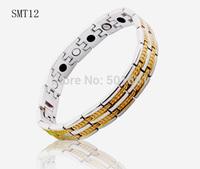 free shipping 2014 new jewelry gold magnetic bracelet for men Germanium Stainless Steel charm Bracelets bangles man bracelet