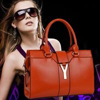 2014 new fashion women leather Handbags, Totes, Messenger bag, shiny metal letters popular design, evening bag, hit the color,