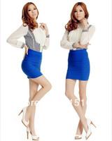 Spring summer sexy pleated skirt lady high waist bust above knee mini fashion slim short pencil skirt women elastic knit cotton