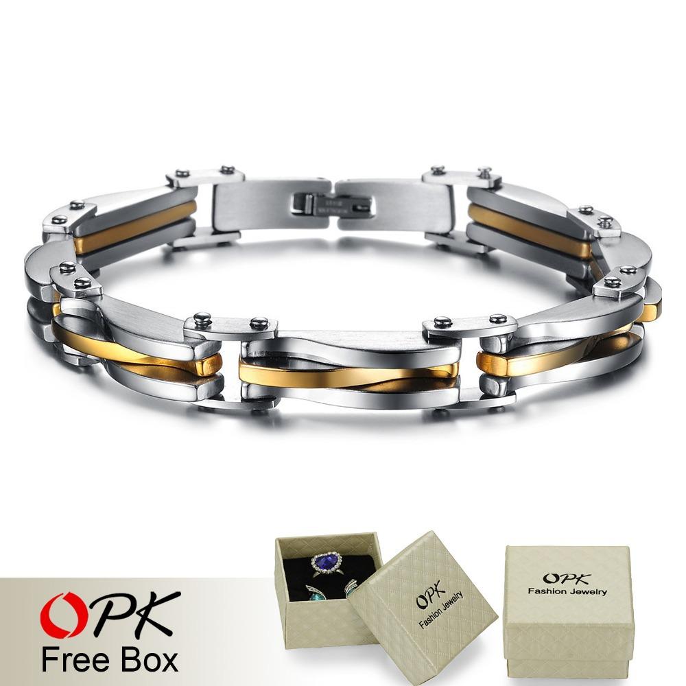 Opk bijoux punk rock heavy metal bracelet argent et d'or en acier inoxydable texture infinity bracelet chaîne à maillons cool bijoux pour hommes