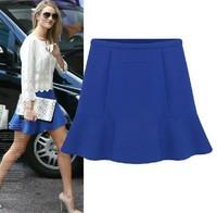2013 New Fashion Women Spring and Summer OL Blue Solid Chiffon Bust Short Skirt Liadies Short Dresses S M L W3329