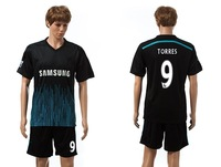 New Arrival 14-15 Chelsea away black #9 TORRES soccer uniform Desinger football shirts thailand quality sportswear Free Shipping