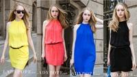 2014 new women candy-colored halter vest dress sleeveless chiffon dress bottoming (gifts belt) FREE SHIPPING
