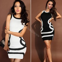 2014 New Summer Women Sexy Club Party Sleeveless Bodycon Mini Bandage Dress With G-string Black/Red/White Plus Sizes M/XXL 19678
