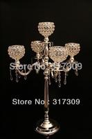 4Pcs/Lot, Fedex/EMS Free Ship, H76cm Crystal Globe 5 Lights Candelabra, Candle Holder, Centerpiece for wedding