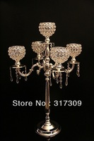 Fedex/EMS Free Ship, H76cm Crystal Globe 5 Lights Candelabra, Candle Holder, Centerpiece for wedding