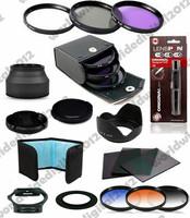 49mm Graduated Filter Set  + 49 MM UV CPL FLD Filter Kit & Lens Hood for Sony Alpha NEX-3 NEX-5 NEX-5N NEX-7 F10