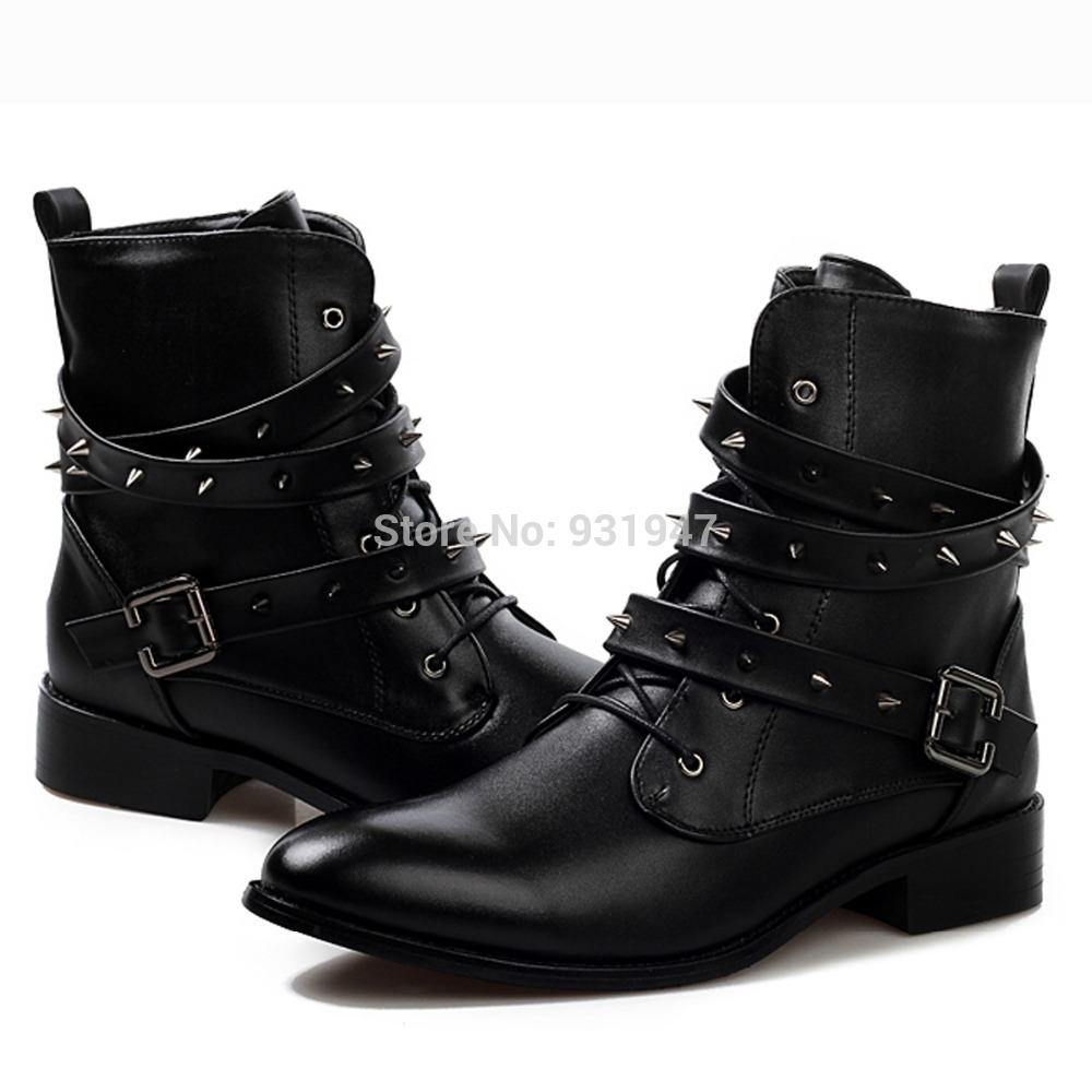Cool Stylish Spike Rivet Studded Leather Motorcycle Ankle Boots Mens Punk Fashion Martin Shoes