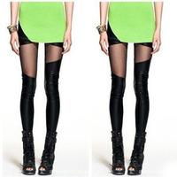 New 2014 Irregular Mesh Leather Stitching Personality Women Sexy Charm Skinny Black Leggings Free Shipping Fitness