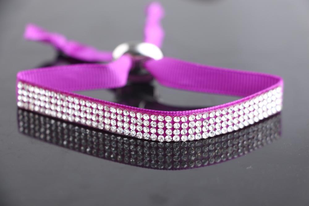 2014 Hot sale New arrival Silk Wristband adjustable plenty Rhinestone Bead Charm Bracelets purple color(China (Mainland))