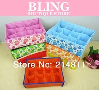 Top.1 Seller Hot Sale Free Shipping Random Color Folding 12 Grid Storage Box For Bra,Underwear,Socks 31*23*11CM