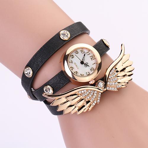 2015 New women vintage leather strap watches,set auger angel wings rivet bracelet women dress watch wristwatch HOT PL127(China (Mainland))