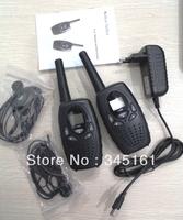Free shipping 1W long range wireless talkie walkie earpiece two way radio walkie talkie up to 8km+ charger + earphones (black)