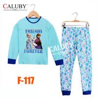 Girls Frozen Sisters Clothing Set Big Kids Summer Pajamas Sets New 2014 Wholesale Children 8-12Y Cartoon Pyjamas F-117