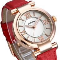 SINOBI Brand Leather Strap Analog Display Women Dress Watch Fashion Casual Quartz Watch Women's Wristwatch