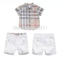 New Arrivals 2015 Summer Brand Children Boys Clothing Set Kids 2pcs set ( Boys Plaid Shirts + Shorts) Child clothes for boys