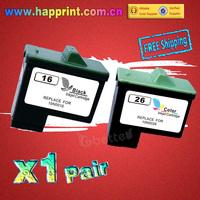 High Quality Replace Ink Cartridge 10N0016 10N0026 for Lexmark 16 26 for X1150 X1270 X2250 X75 Z13 Z23 Z25 Z33 Z35 Z515 (1Pair)