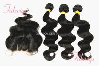 4 Pcs Lot Unprocessed Human Virgin Hair Lace Top Closure With Bundles 4x4 Malaysian Body Wave 3 Way Part Lace Closure