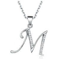 "The Classic Micro insert zircon  Letter Necklace ""M"" ""A"" ""K"""