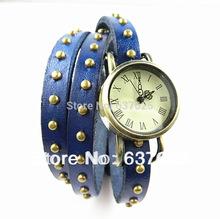 Vintage Multilayer Leather Watch Bracelet Weave Bronze Rivets Quartz Wristwatch Jewelry