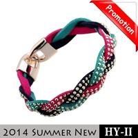Promotion New 2014 Fashion hot Sale Crystal Suede Cord Bracelet Men Colorful Braided Bracelets + Bangles For Men and Women