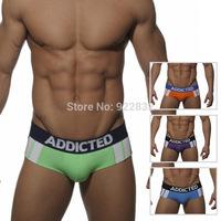 1Pcs ES Addicted Underwear!Low-waist Double Stripe Men's Briefs Classic Color Block BROAD-BRIMMED Men's Underwear