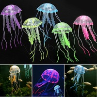 Cute Artificial Jellyfish Decoration Glowing Effect for Aquarium Fish Tank Ornament Swim Pool Bath Decor 5 Colors 18197 B19
