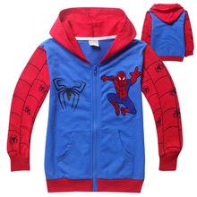 1pc Retail 2014 Spring Autumn Children s Coat boys Spiderman embroidered hoodie jackets Kids cartoon Clothes