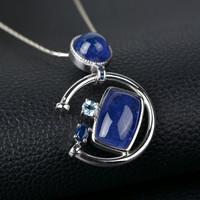Free shipping Natural aquamarine topaz stone moon 925 pure silver pendant Women 2014