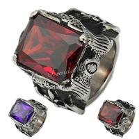 Gothic Punk Red Purple Cut CZ Dragon Claw Engraved Fleur De Lis Axe Gold Tone 316L Stainless Steel Mens Ring US Sz 8-13 HRM01