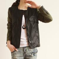 New PU Slim faux leather women's jacket long sleeve zipper jacket stitching leather jacket free shipping