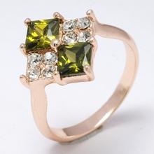 Free shipping Dropship  HOT! Cubic Shine Sexy Green 18K Rose Gold Filled  Cubic Zircon  Women Lady Fashion  Ring Jewelry R0033