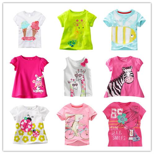 Brand 2014 Girls Summer T-shirt Short Sleeve European Style Little Girl Cartoon Tees Baby Tshirt Children Shirts Cotton Panda(China (Mainland))