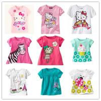 Retail 1 Piece 2014 New Children T-shirt Girls tees baby Girl Short Sleeve T shirts 100% Cotton Summer Wear Brand Pink Cartoon