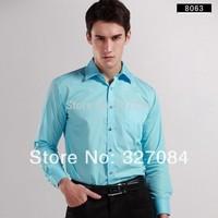 man spring 2015 Men's Long sleeves Formal Business Shirts dress shirt Diamond Buttons Cotton Broadcloth 4xl Top Quality 8063