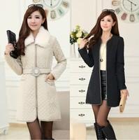 2014 Hot Sale Zipper  Winter Coat Women M-5xl Belt, Brand New Jacket Coat  Women's Cotton Casual Long Intensify Slim M-5XL black